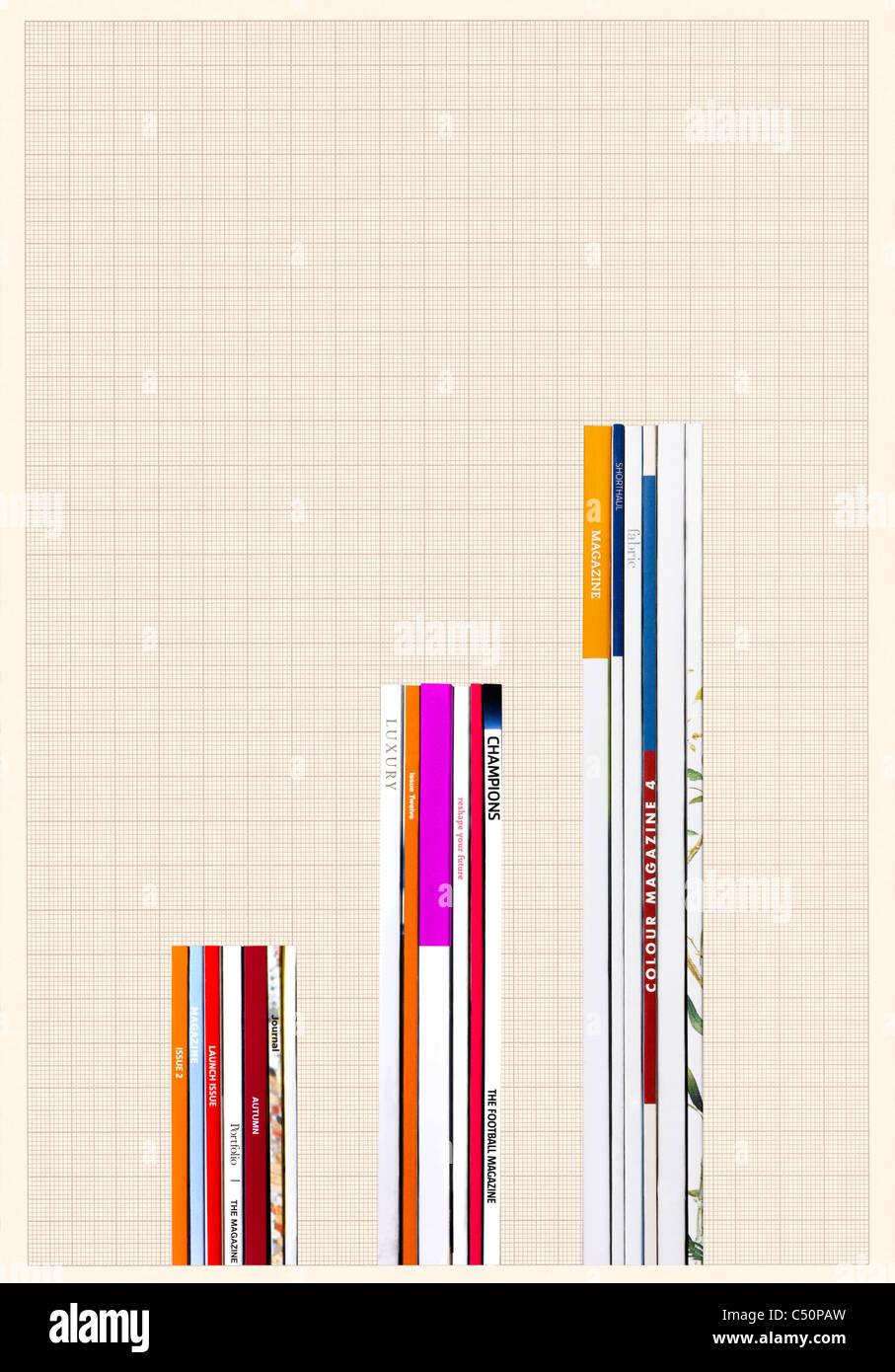 Riviste posizionati a formare un grafico Immagini Stock