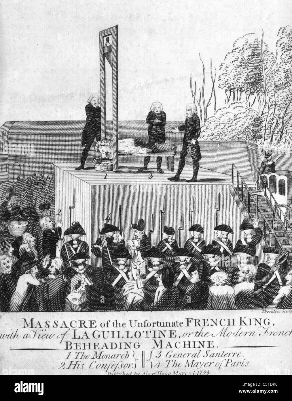 Esecuzione di Louis XV1 durante la Rivoluzione Francese nel 1793 Immagini Stock