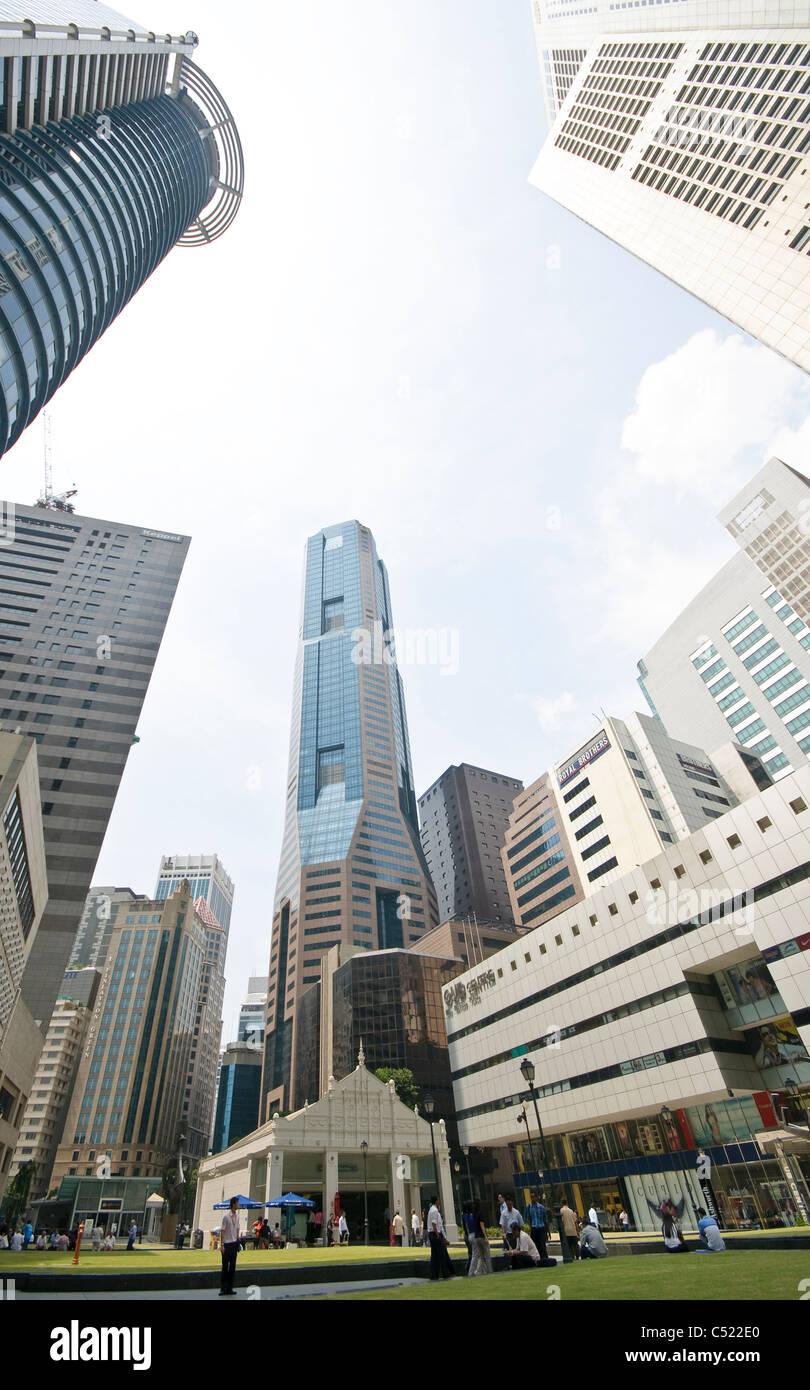 Grattacieli del quartiere finanziario, il quartiere centrale degli affari, creativo, Singapore, Sud-est asiatico, Immagini Stock