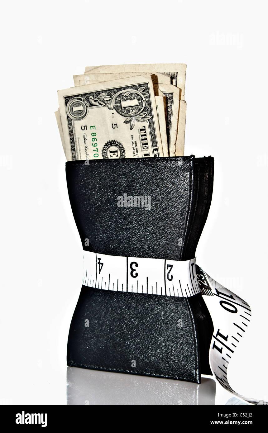 Portafoglio con dollari-crisi finanziaria nozione Immagini Stock