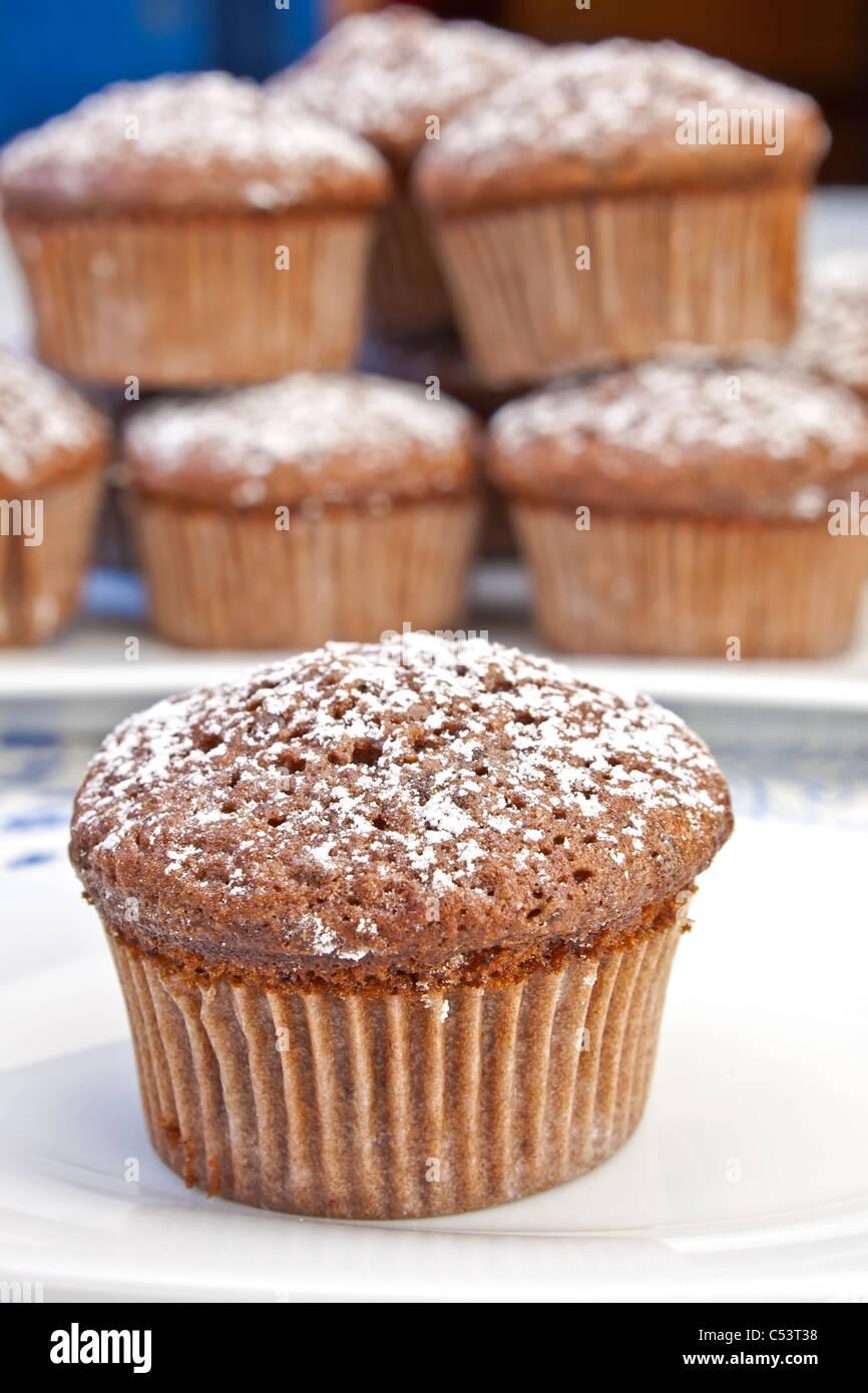 Appena sfornato muffin al cioccolato spolverati con zucchero a velo Immagini Stock