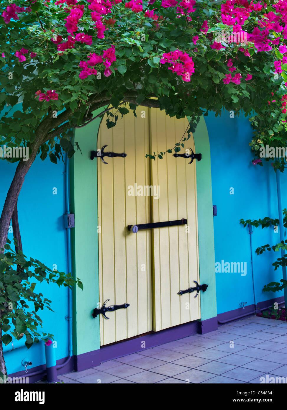 Memorizzare le porte anteriori con Bouganvilla. San Giovanni. Vergine Slands Immagini Stock