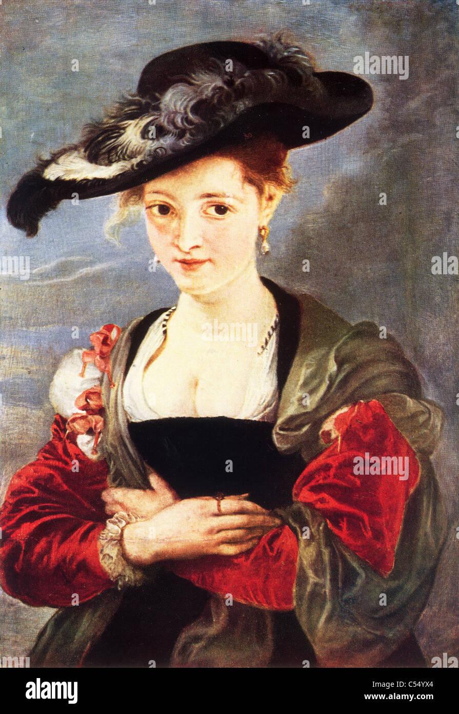 """Sir Peter Paul Rubens: Ritratto di Susanne Fourment ('Le chapeau de paille"""") circa 1625. Olio su pannello Immagini Stock"""