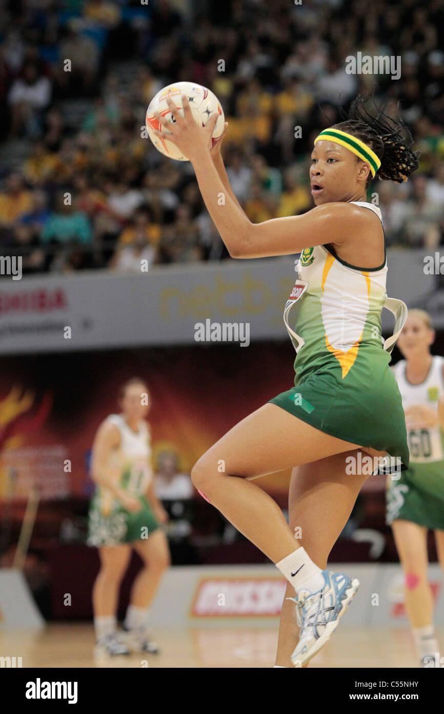 08.07.2011 Zanele Mdodana del Sud Africa in azione durante il quarto di finale tra la Nuova Zelanda e il Sud Africa Immagini Stock