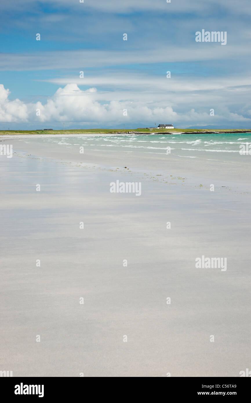 Sulla spiaggia di Traigh Mhor su Tiree, Argyll, Scotland, Regno Unito. Immagini Stock