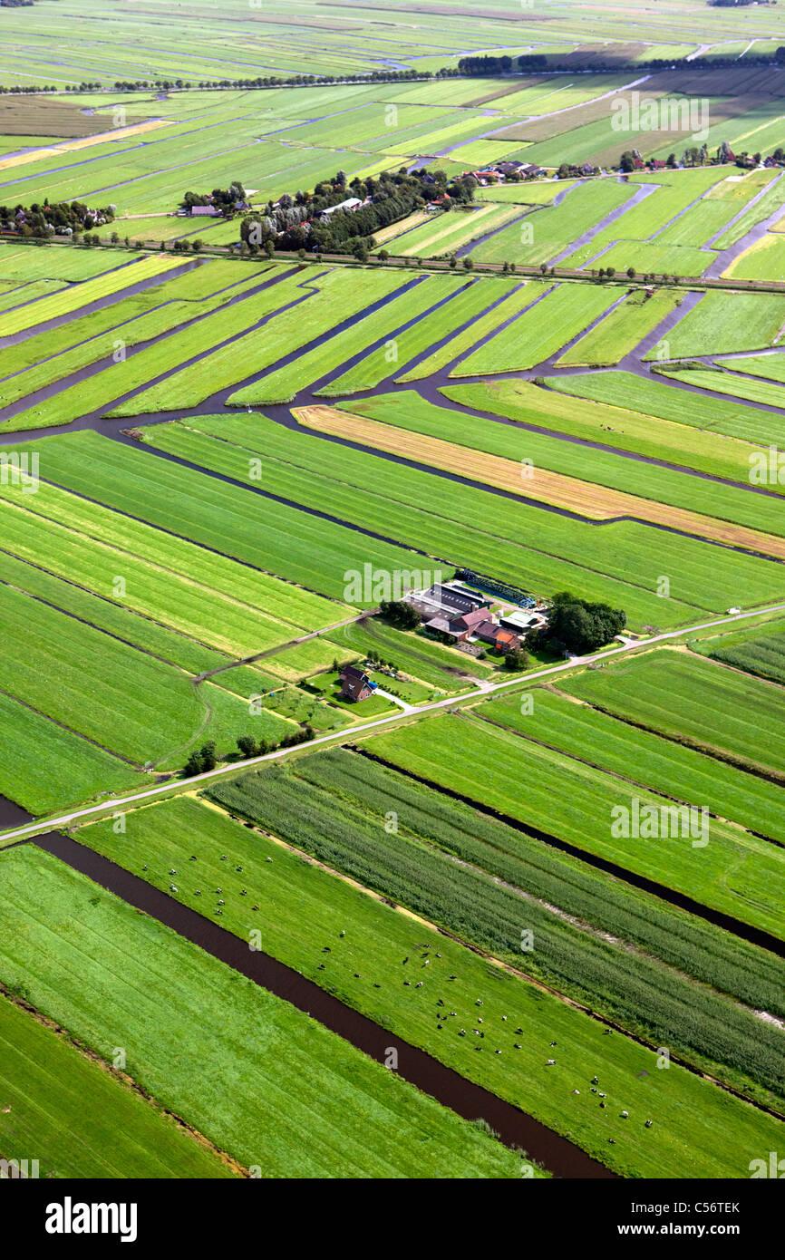 Nei Paesi Bassi, vicino a Purmerend, Antenna di paesaggi dei polder e fattorie. Immagini Stock