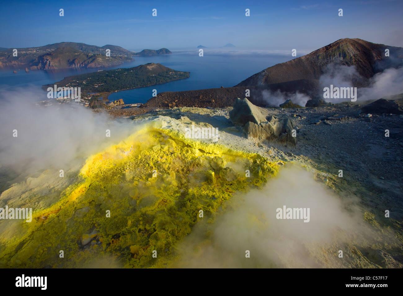 Vulcano, Italia, Europa, isole Lipari, isola, isola, vulcano Crater, fumarola, zolfo, zolfo, la deposizione a vapore, Immagini Stock