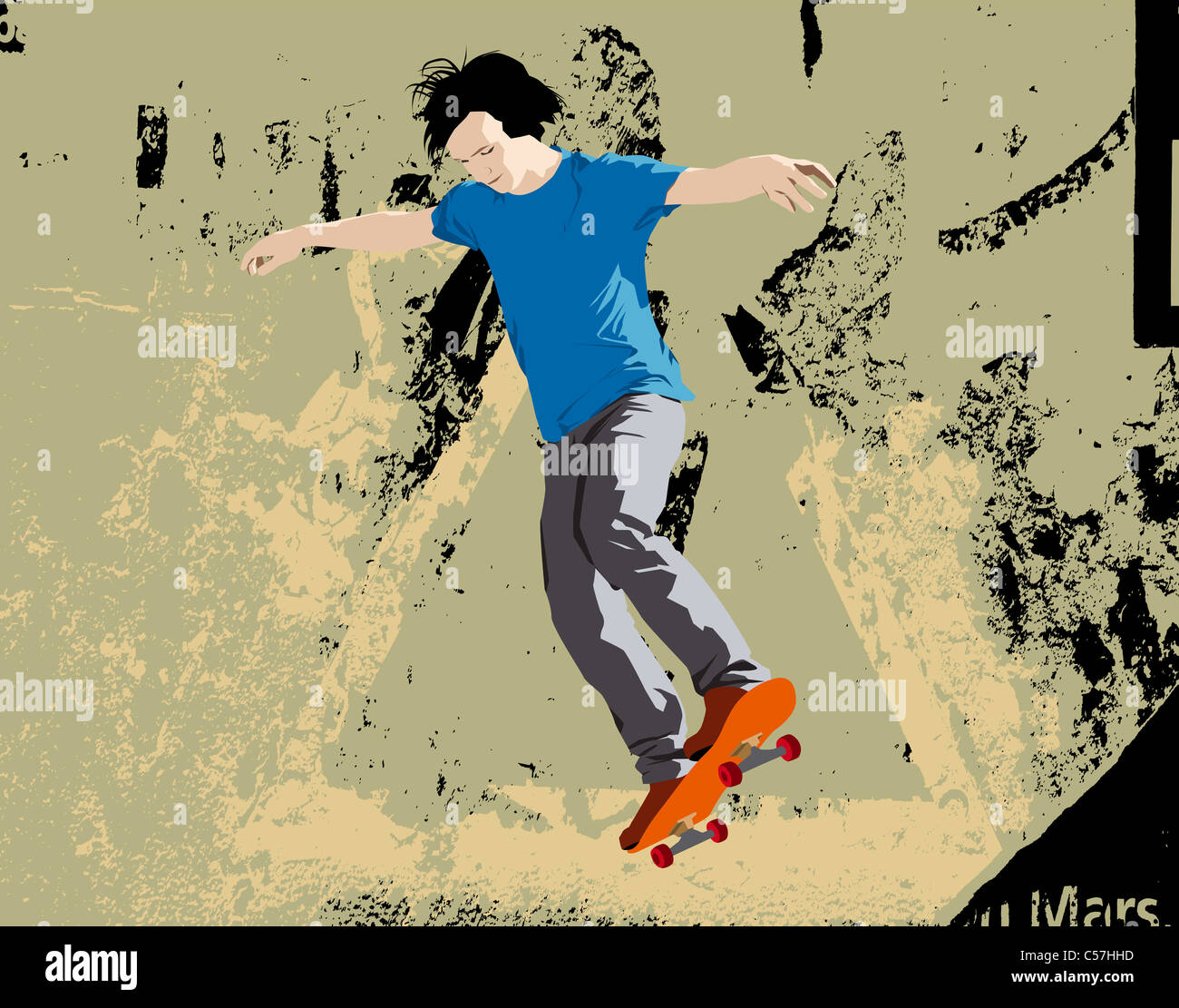 Giovane guidatore di skateboard jumping. Illustrazione Vettoriale con sfondo grunge. Immagini Stock