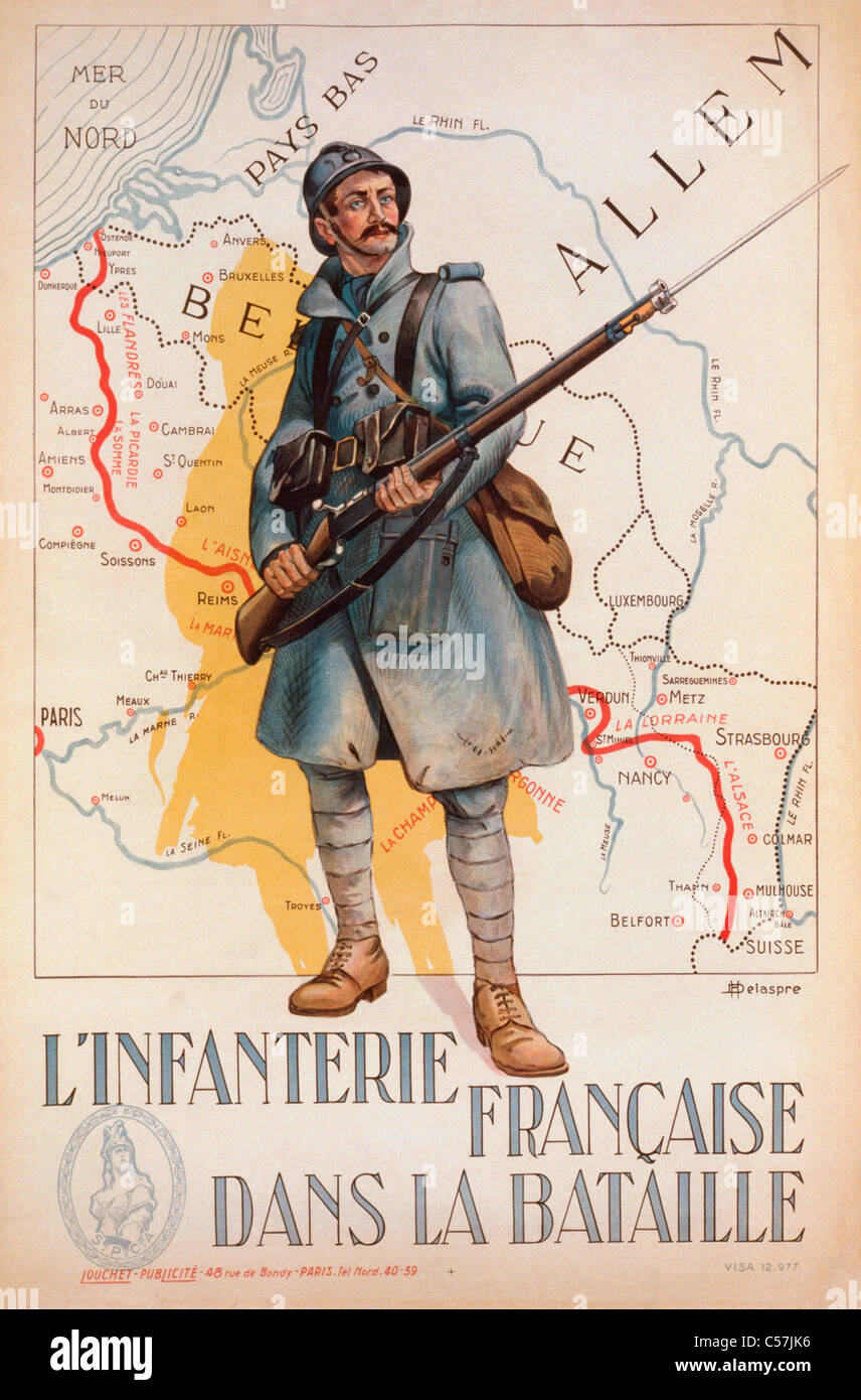 Il francese prima guerra mondiale il reclutamento di poster. L'Infanterie Francaise dans la Bataille, o fanteria Immagini Stock