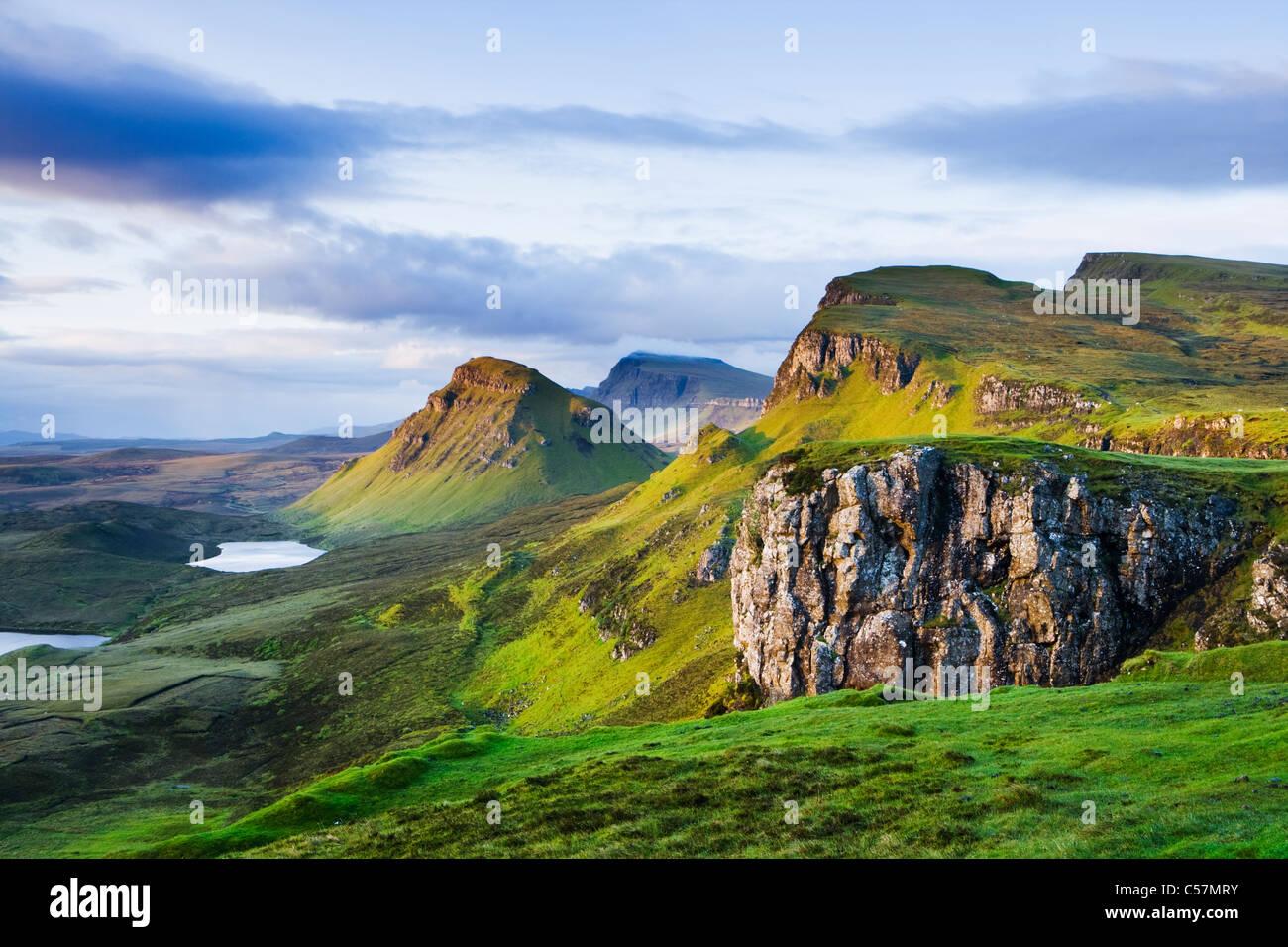 La Quiraing, Isola di Skye, Scotland, Regno Unito. Immagini Stock