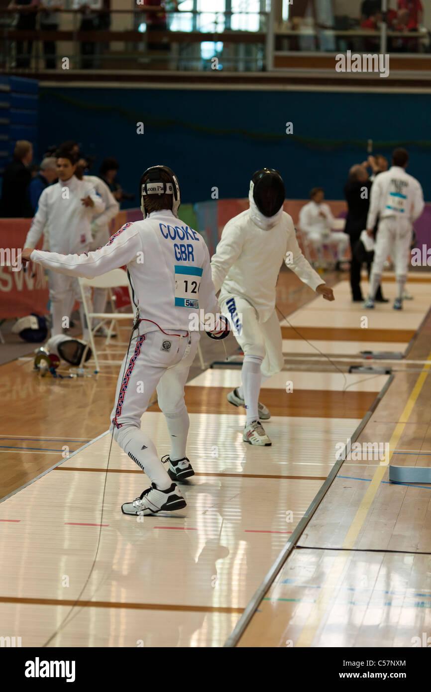 La scherma evento al 2011 Pentathlon moderno UIPM finale di Coppa del Mondo, il Crystal Palace di Londra, Regno Immagini Stock