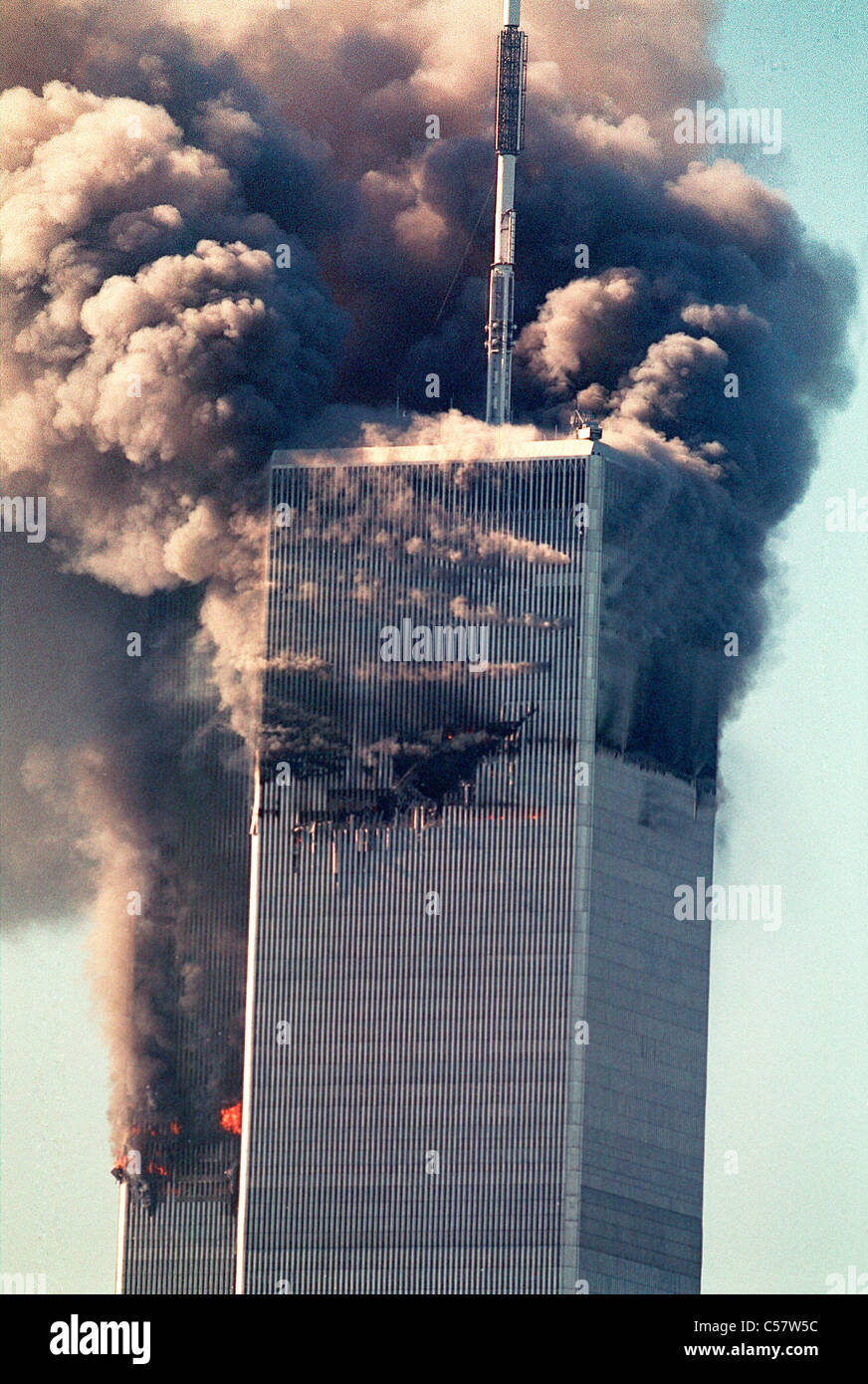 World Trade Center di New York City di attacco terroristico, Settembre 11, 2001. Immagini Stock