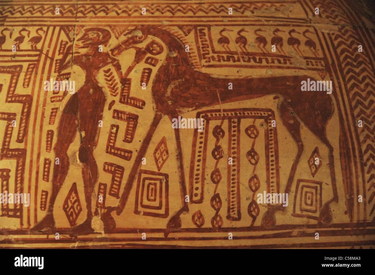 Crater con decorazione geometrica. Dettaglio. Tardo periodo geometrico. Argos Museo Archeologico. La Grecia. Immagini Stock