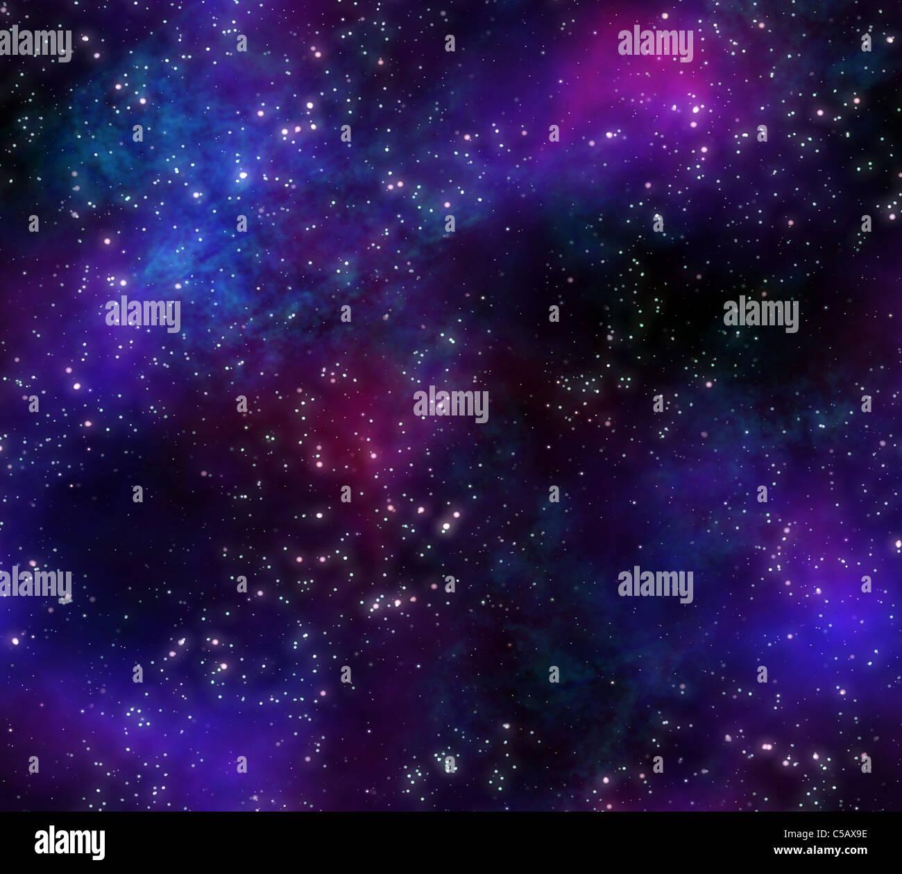 Grande immagine di sfondo stelle e nebulose nel cielo notturno Foto Stock