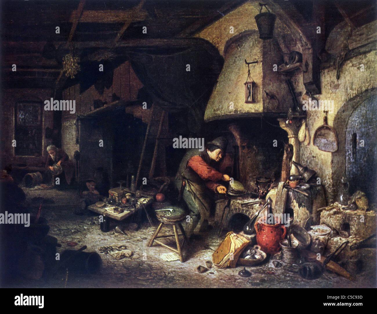 """Dipinto di Adriaen van Ostade, fine scuola olandese; 1661; """"l'Alchymist', olio su legno Immagini Stock"""