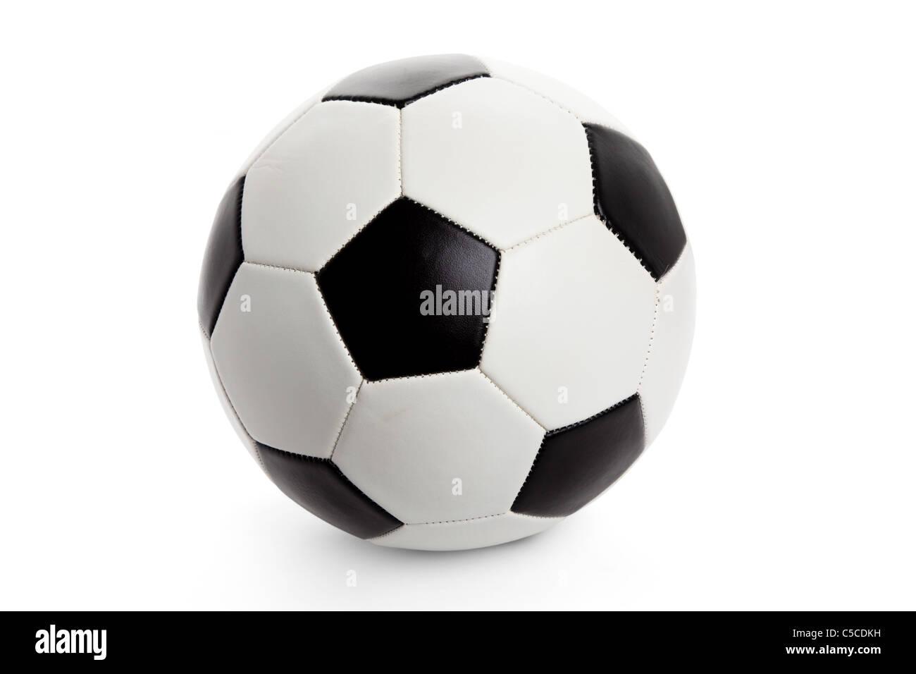 Pallone da calcio, calcio isolati su sfondo bianco Immagini Stock