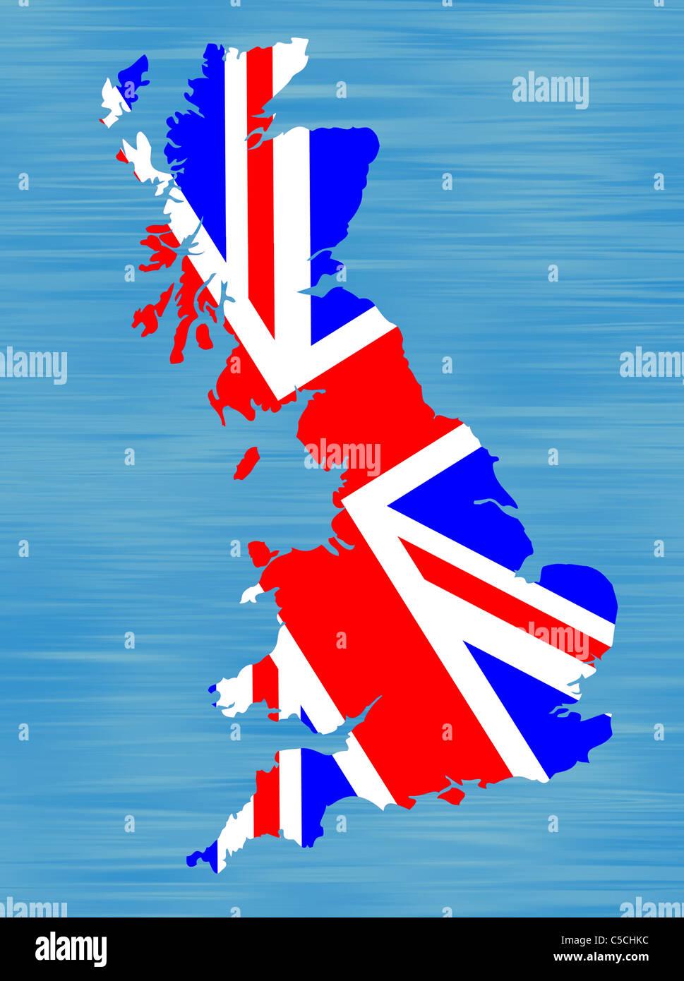 Immagini Della Cartina Della Gran Bretagna.Disegno Di Una Mappa Della Gran Bretagna Infilled Con Bandiera Britannica Foto Stock Alamy