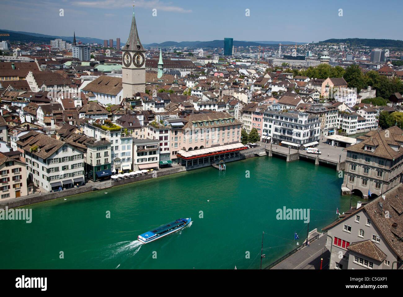 Al di sopra di vista di Zurigo, Svizzera Immagini Stock