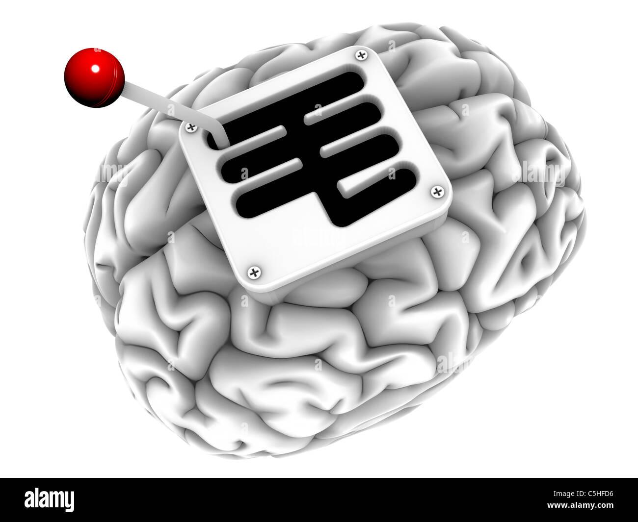 Cervello con cambio, computer artwork Immagini Stock
