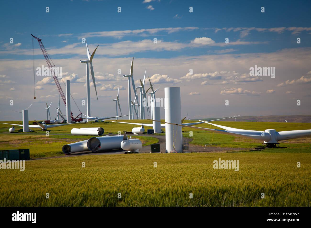 Le turbine eoliche in basso a Snake River progetto di energia eolica Immagini Stock