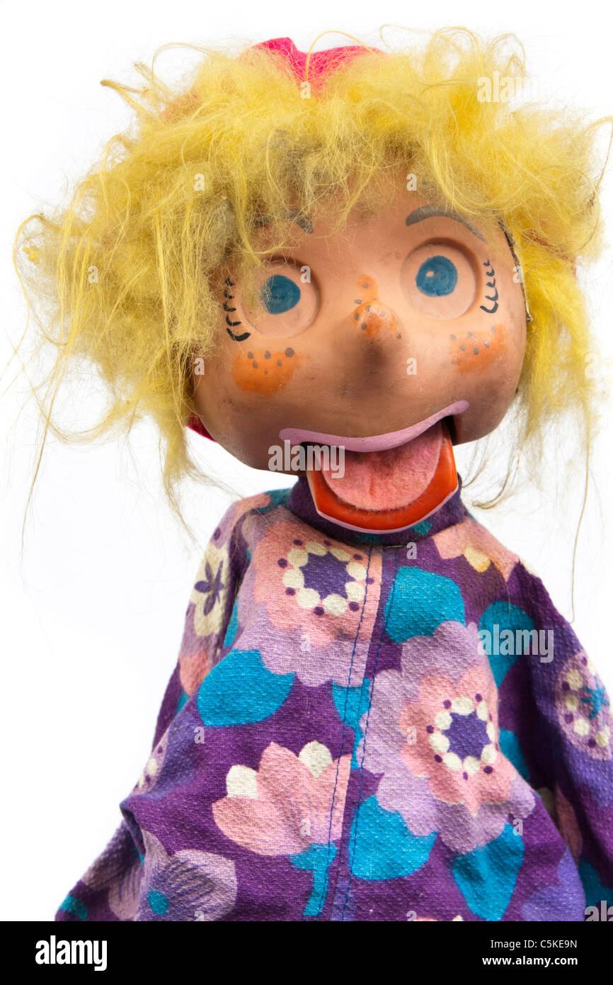 Vintage marionette a mano / ventriloquo doll Immagini Stock