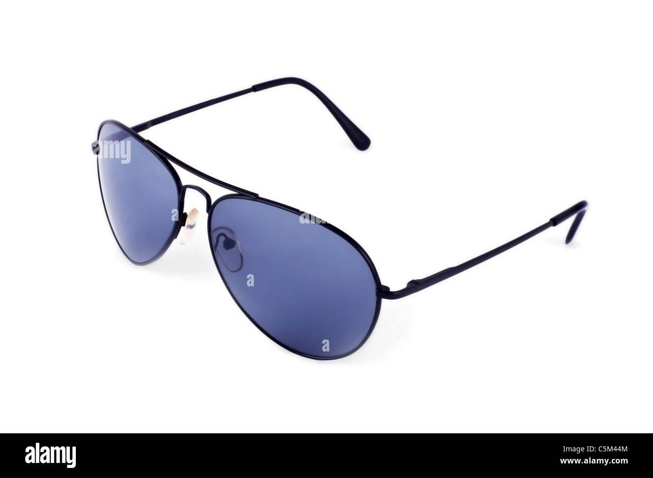 Aviator occhiali da sole isolato su sfondo bianco Foto Stock