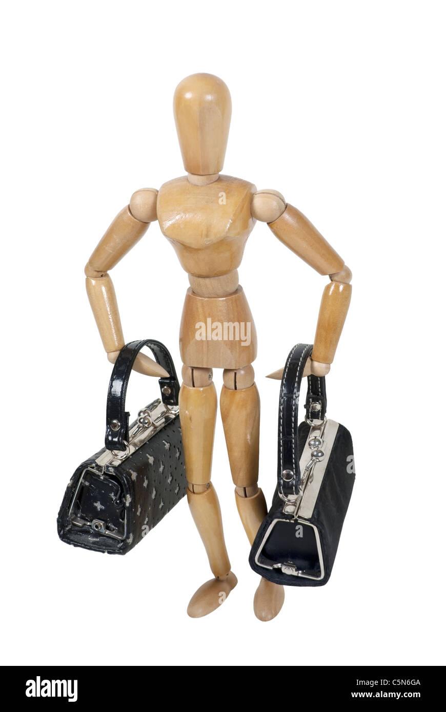 Modello in legno che trasportano sacchi di colore nero di bagagli per il viaggio - percorso incluso Immagini Stock