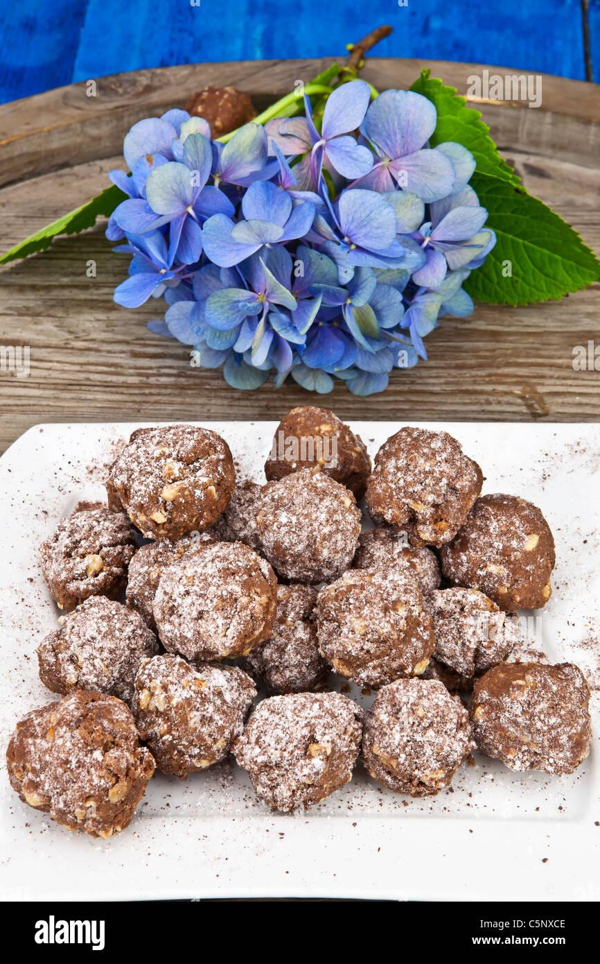 Torte al cioccolato con zucchero a velo e dadi Immagini Stock
