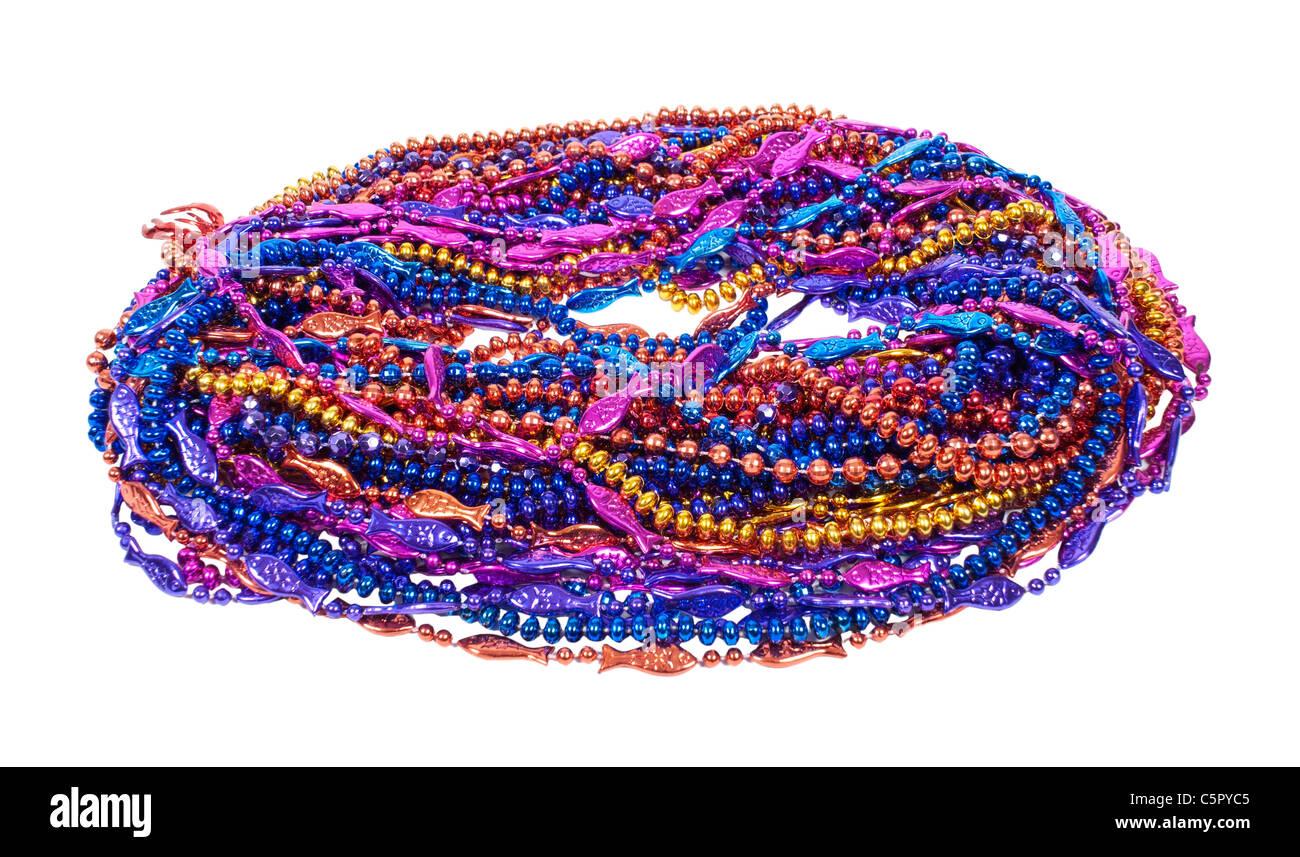 Una varietà di Mardi Gras cordoni di colori brillanti e design - percorso incluso Immagini Stock