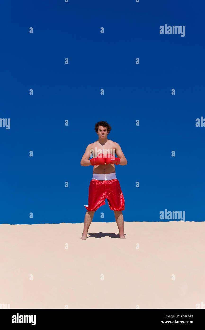 Boxer è pronta con guanti collegato Immagini Stock