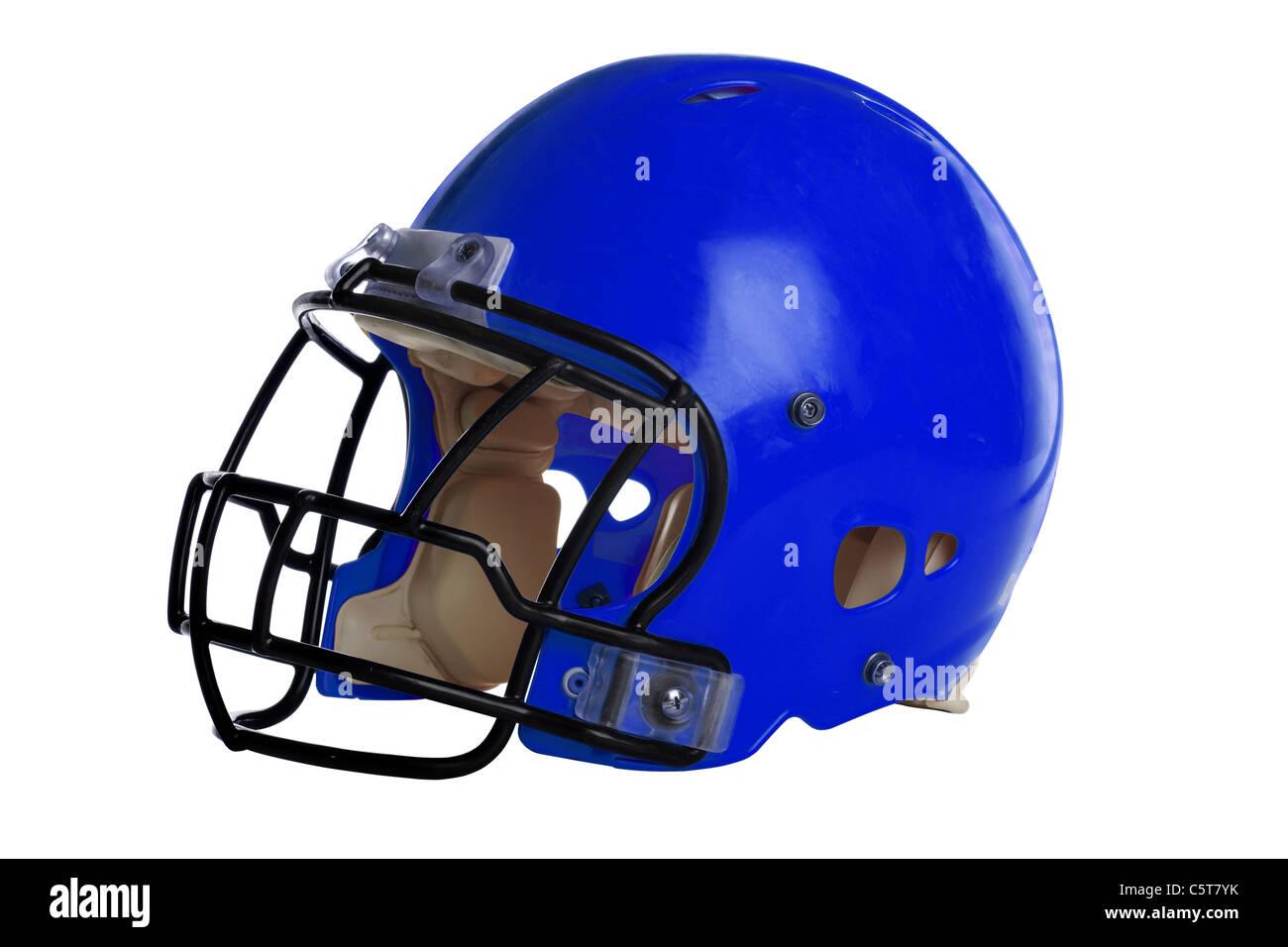 Blue casco da football isolate su sfondo bianco - con tracciato di ritaglio Immagini Stock