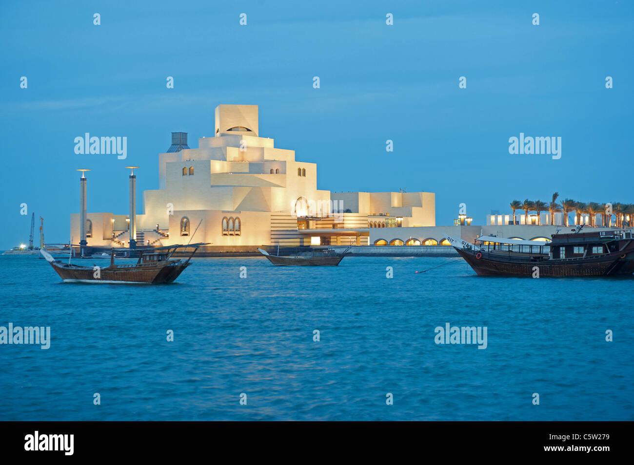 Museo islamico crepuscolo Doha in Qatar Immagini Stock