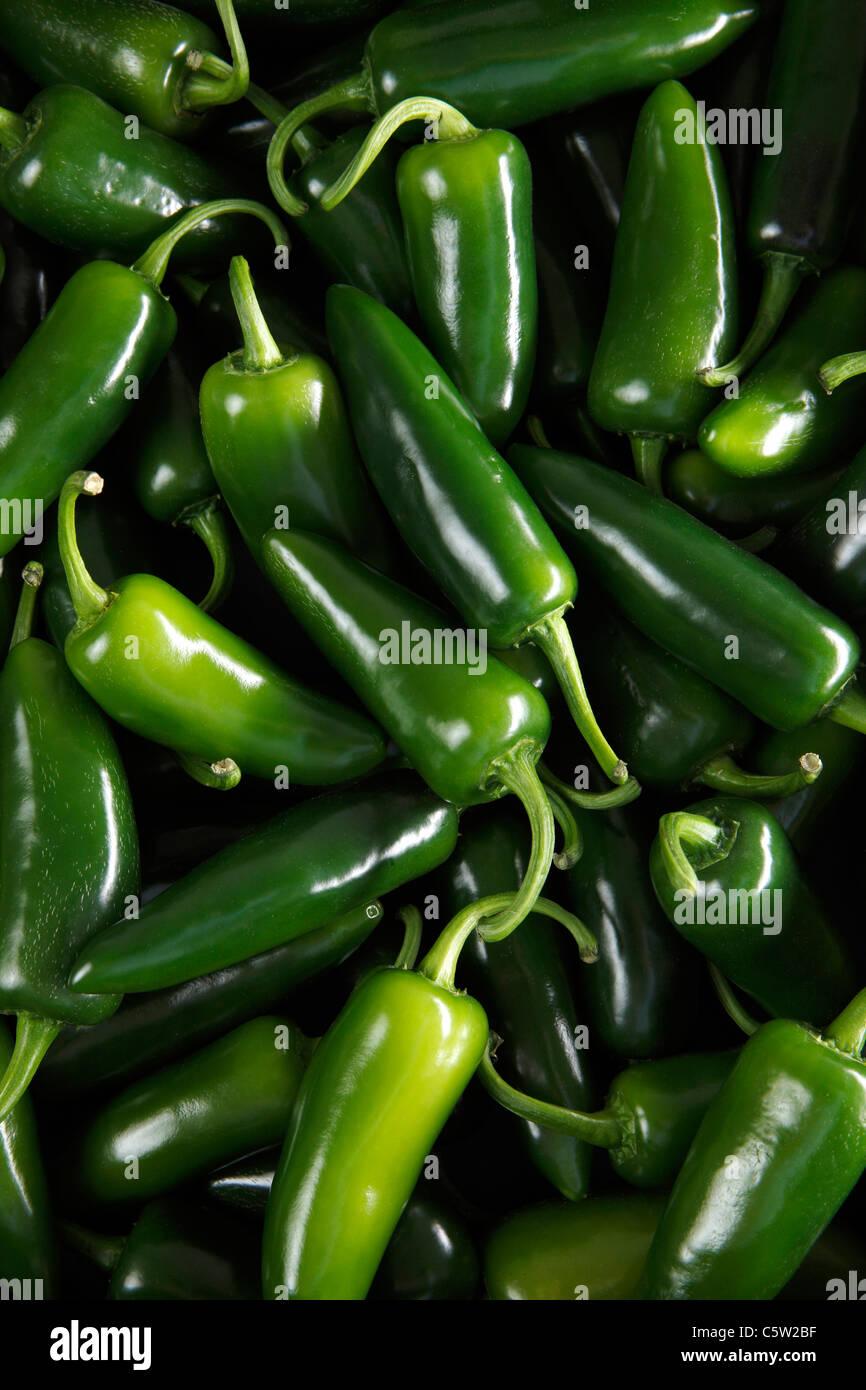 Verde peperoncino jalapeno, vista in elevazione, full frame Immagini Stock