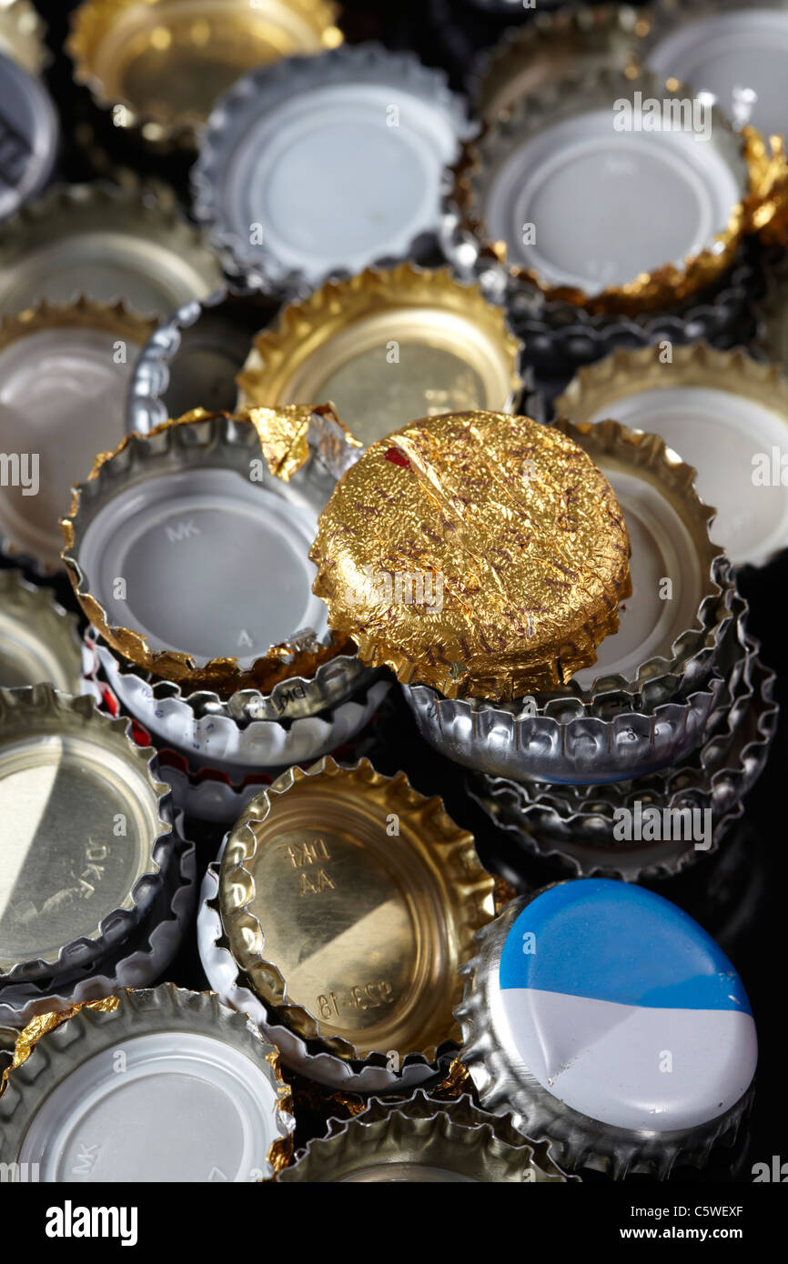 Tappi a corona, full frame, close-up Immagini Stock