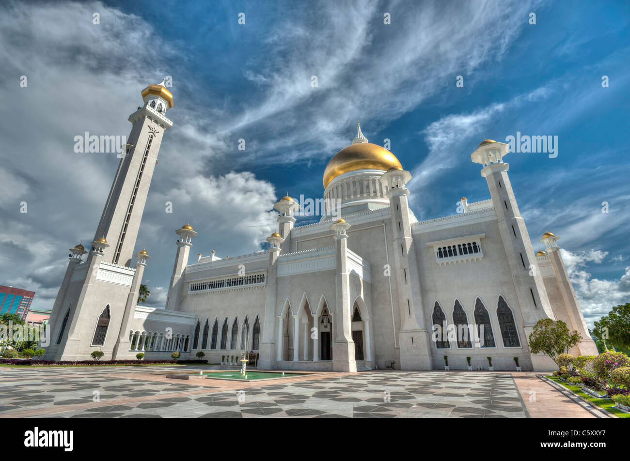Il sultano Omar Ali Saifuddin Moschea in Bandar Seri Begawan, Brunei Immagini Stock