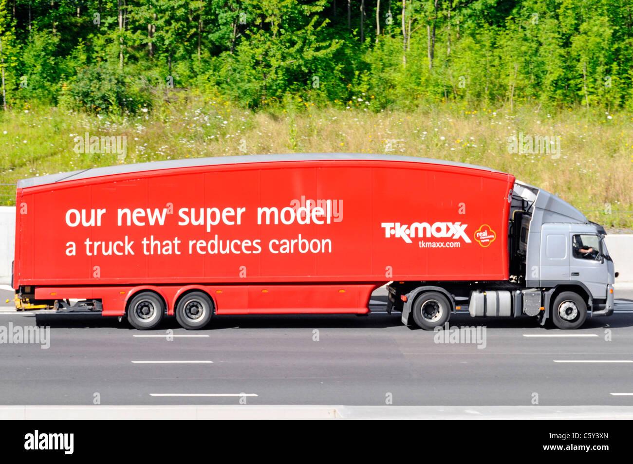 TK Maxx riducendo di carbonio autocarro Immagini Stock