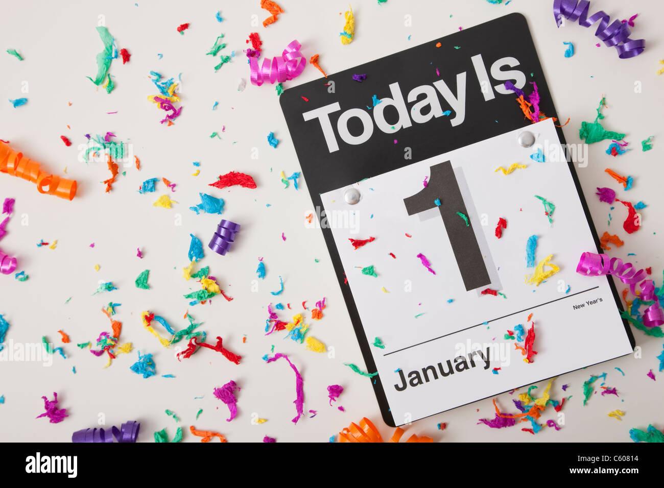 Stati Uniti d'America, Illinois, Metamora, 1 gennaio il calendario con i confetti Immagini Stock