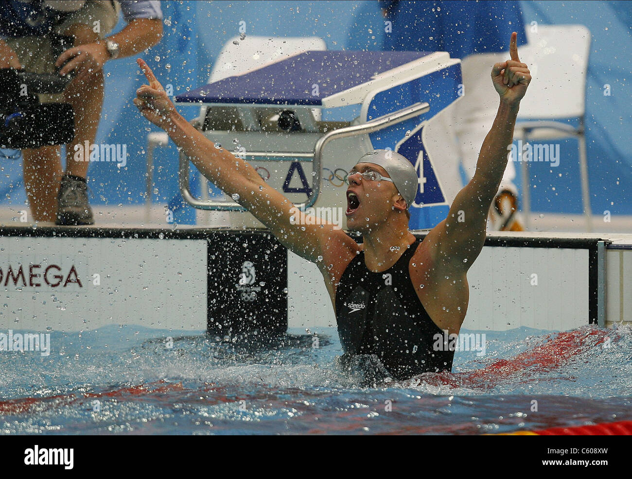 FILHO CESAR CIELO BRASILE lo stadio olimpico di Pechino CINA 16 Agosto 2008 Immagini Stock