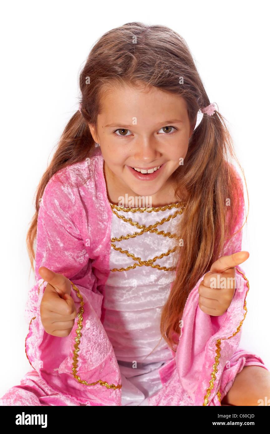 8 anno vecchia ragazza in un costume vestita come una fata Immagini Stock