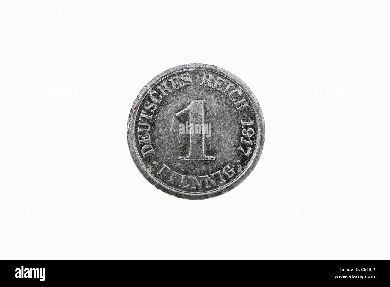 Foto Dettaglio di 1 pfennig medaglia del Reich tedesco a partire dall'anno 1917 Foto Stock