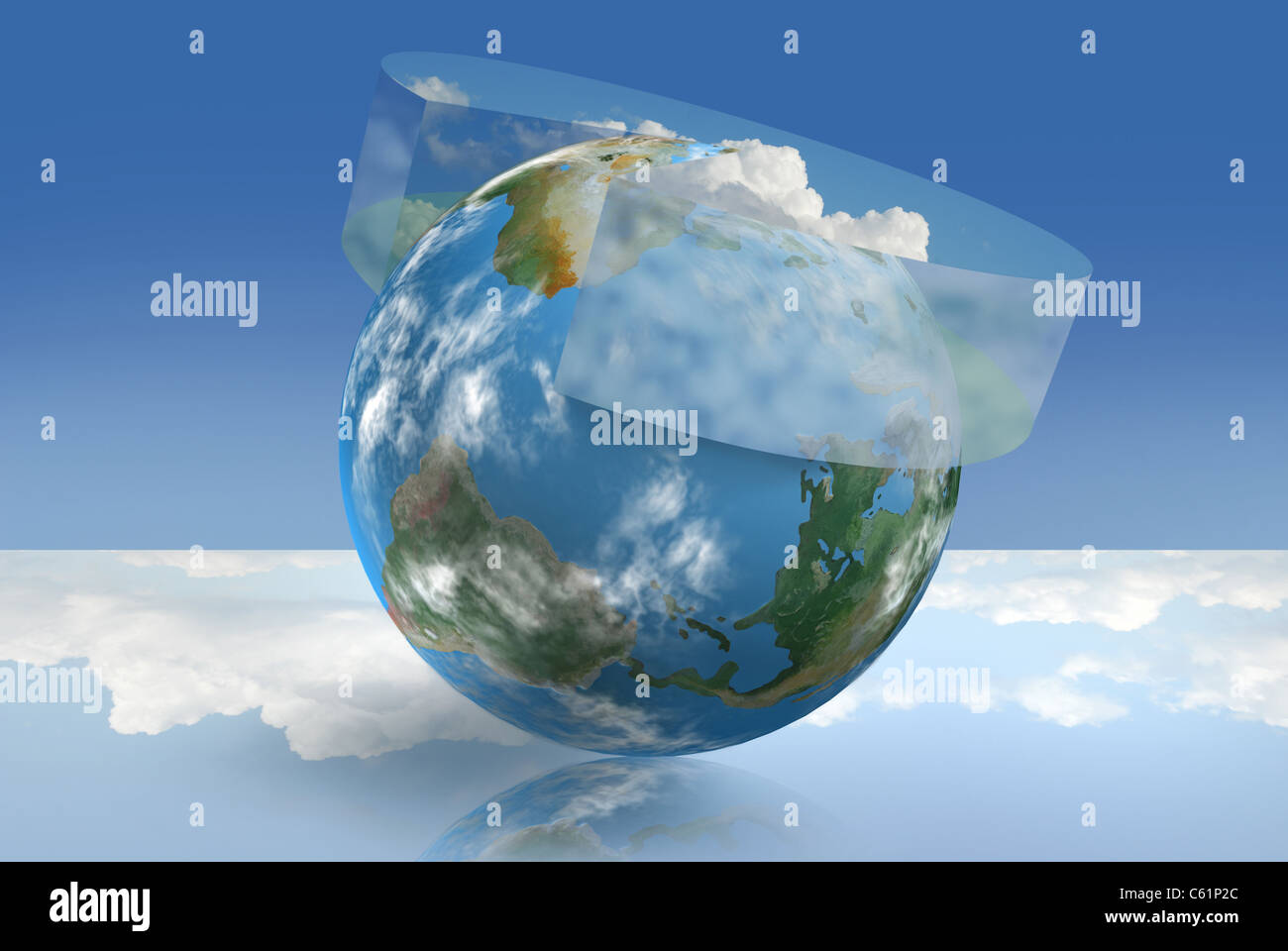 Il clima della tecnologia di controllo illustrata con un ambiente grafico a torta Immagini Stock
