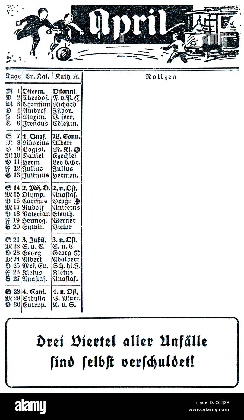 Calendario 1929.Il Calendario 1929 Aprile Foto Immagine Stock 38166753