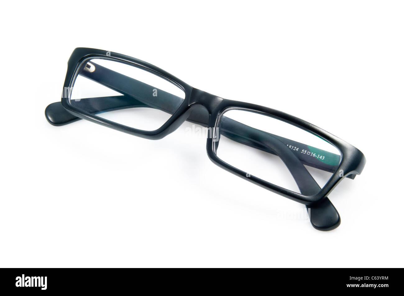 Black montature per occhiali isolati su sfondo bianco Immagini Stock
