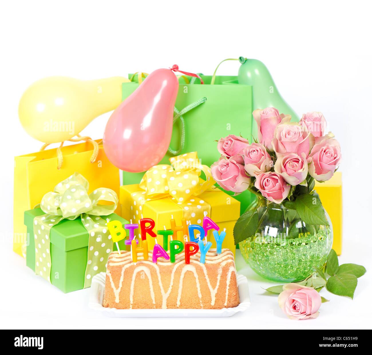 Buon Compleanno Decorazione Di Partito Torta E Fiori Foto