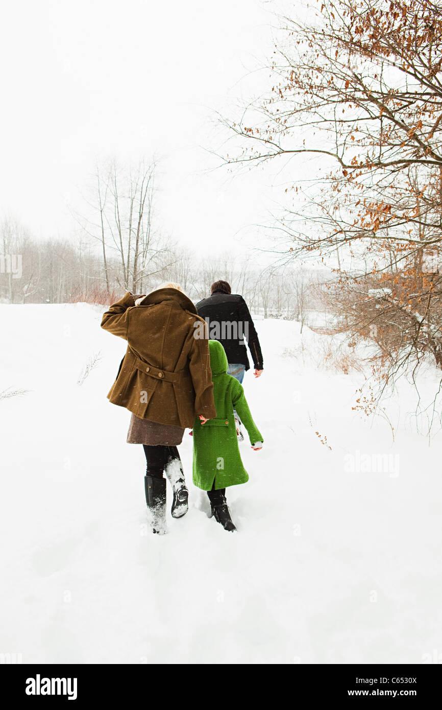 Famiglia a piedi nella neve Immagini Stock