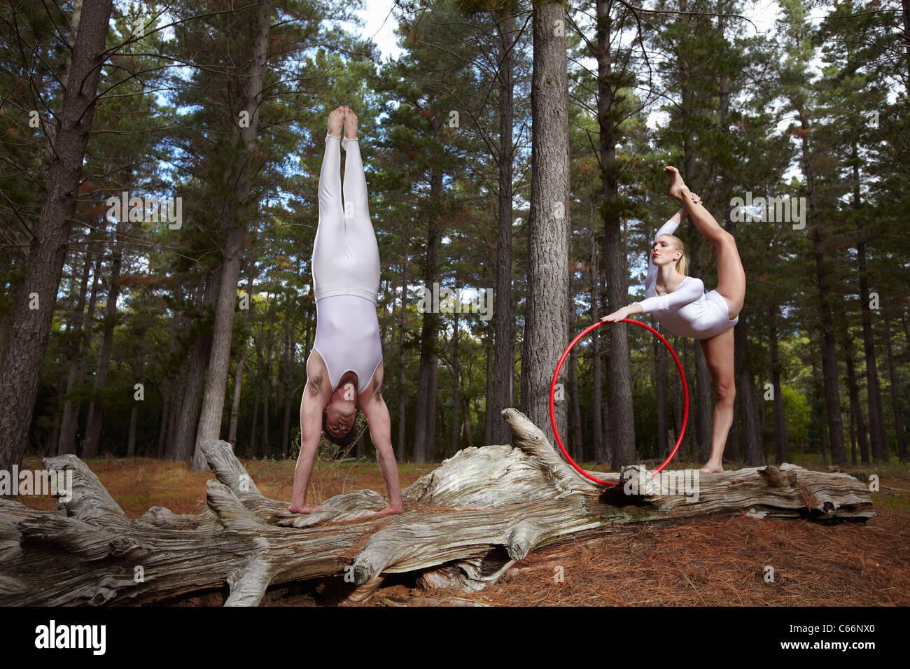 Ballerini in posa sul log in foresta Immagini Stock