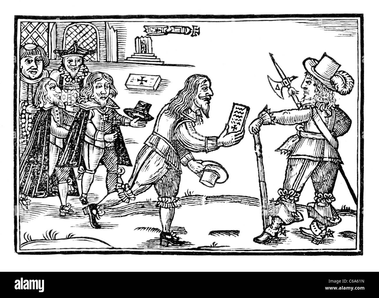 L umile petizione di Jock di treccia Scozia; tratto del 1648; in bianco e nero illustrazione Immagini Stock