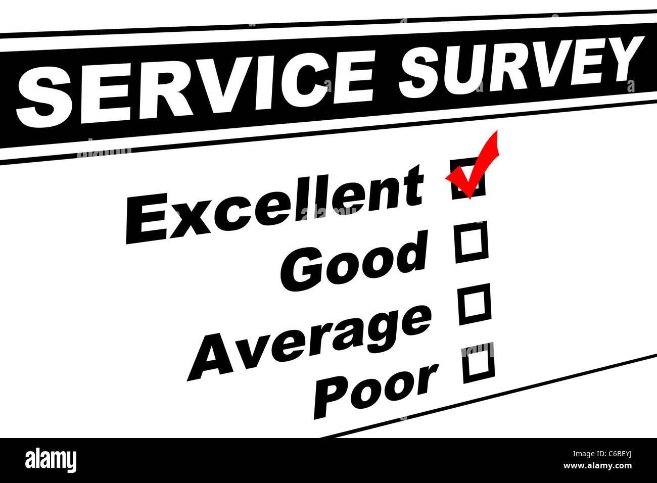 Servizio clienti sondaggio compilato con ottima scelta isolato su bianco Immagini Stock