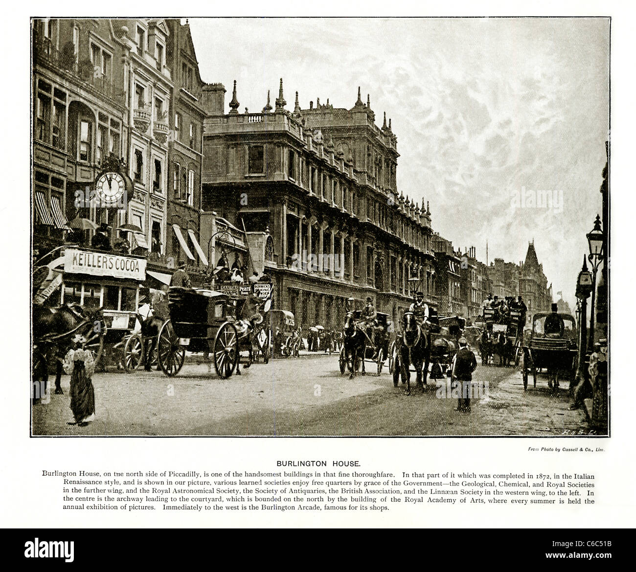 Burlington House Piccadilly, Londra, 1897 foto vittoriano guardando ad Est all'edificio contenente la Royal Immagini Stock