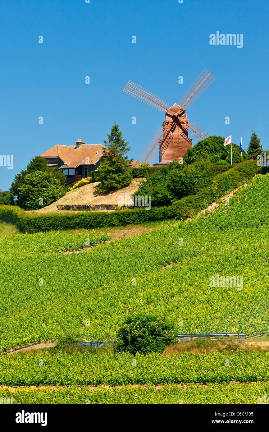 Parco Regionale delle Montagne de Reims, il mulino a vento di Verzenay Immagini Stock